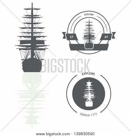 Illustration with ship silhouette isolated on white background. Lables and banners. Vector illustration.