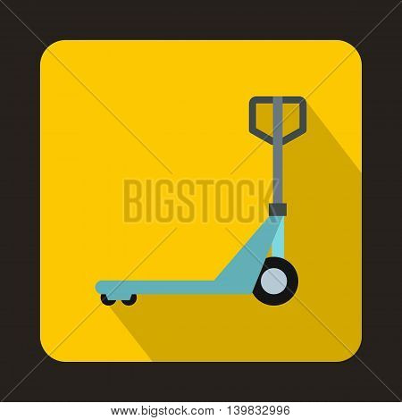 Hand pallet truck icon in flat style on a yellow background