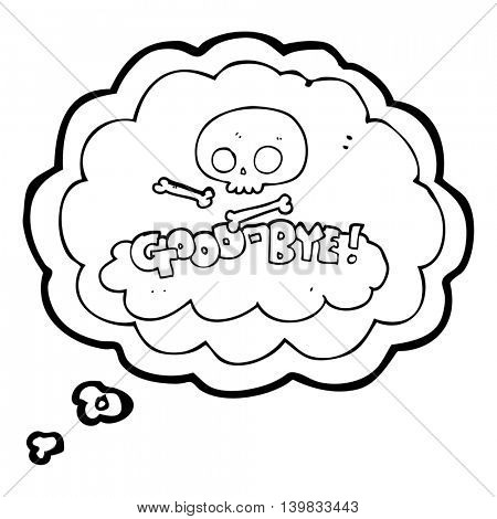 freehand drawn thought bubble cartoon good-bye symbol