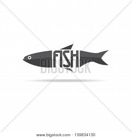 Fish logo design with white background. Vector illustration.
