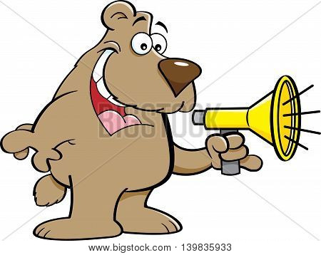 Cartoon illustration of a bear talking into a megaphone.