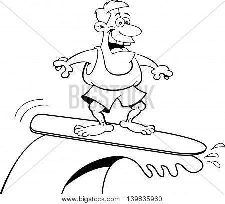 Black and white illustration of a smiling man surfing.