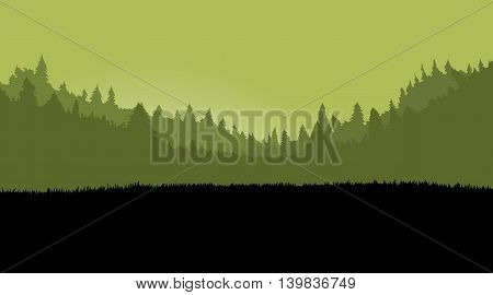 Misty forest landscape for games background with dark grass. Parallax scrolling. Vector illustration.