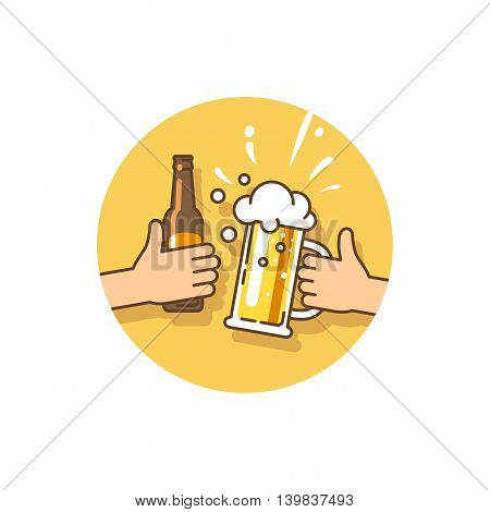 Beer festival. Birthday party. Celebration of the current event. Two hands holding the beer bottle and beer glass. Vector illustration in flat style.