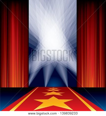 opened stage, red curtain, stars on red carpet, spotlights on sky, vector background