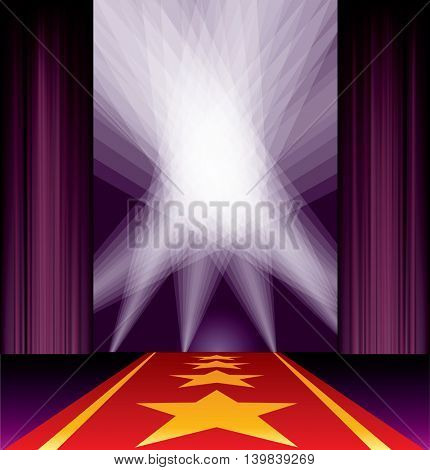 opened stage, purple curtain, stars on red carpet, spotlights on sky, vector background