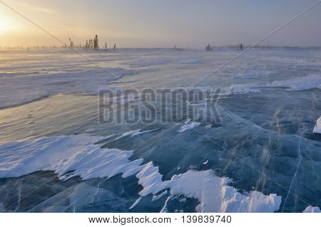 Frozen lake with boreal forest (taiga) and tundra in background at Wapusk national park Canada during blizzard.