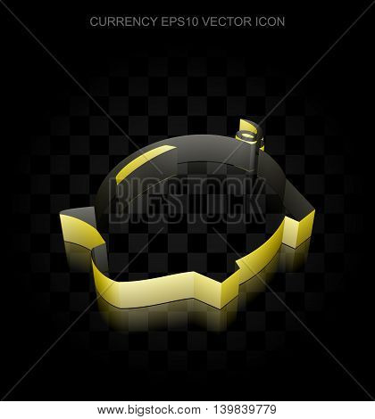 Currency icon: Yellow 3d Money Box made of paper tape on black background, transparent shadow, EPS 10 vector illustration.