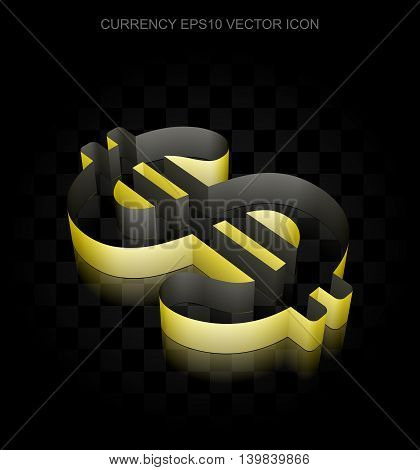 Currency icon: Yellow 3d Dollar made of paper tape on black background, transparent shadow, EPS 10 vector illustration.