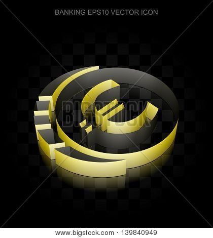 Banking icon: Yellow 3d Euro Coin made of paper tape on black background, transparent shadow, EPS 10 vector illustration.