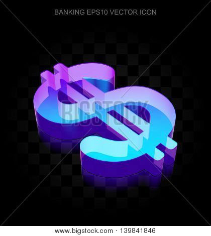 Money icon: 3d neon glowing Dollar made of glass with transparent shadow on black background, EPS 10 vector illustration.