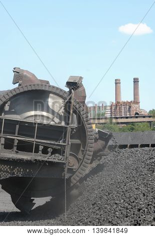 Stacker coal exploration and machine, close up