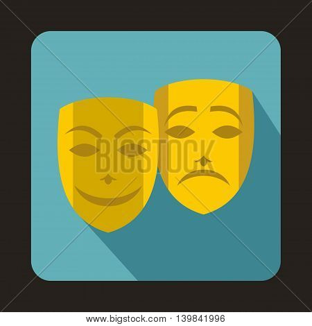 Comedy and tragedy theatrical masks icon in flat style on a baby blue background