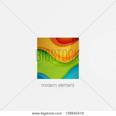 Abstract brand logo design on white. Square with bold relief texture effect, 3d imitation waves with shadows. Blue, green, yellow and green colors
