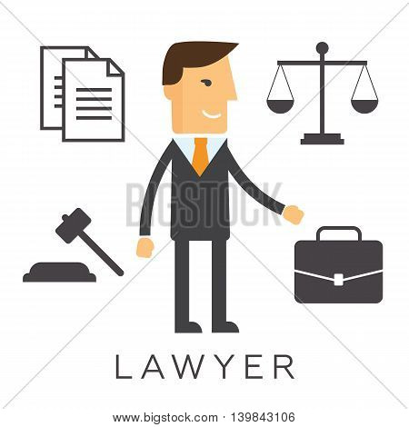 Lawyer concept. Lawyer icons in flat style eps10
