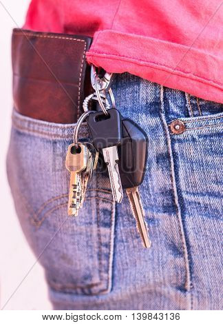 Keychain hang on jeans of business man