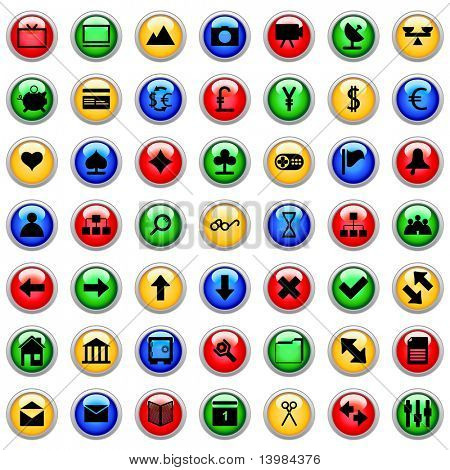 Collection of different icons for using in web design. poster