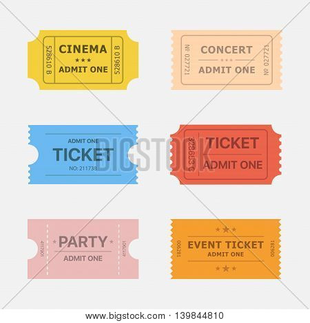 Ticket vector icons isolated from the background in flat style. Ticket stubs to events such as movie concert and party. Simple vintage paper tickets for any activity.