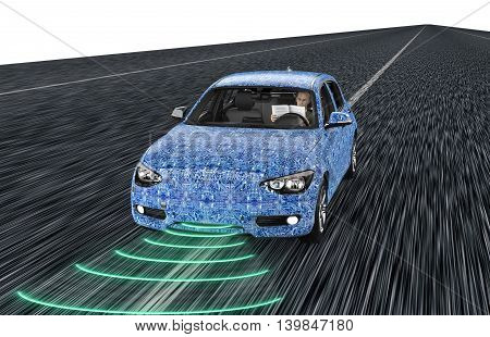 Self Driving Electronic Computer Car On Road