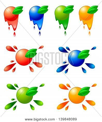 Set stylised fruit isolated on white background. Vector illustration