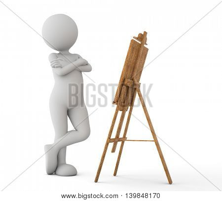 Toon man painter looking at the image on the easel. White background. 3D illustration