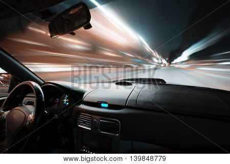 Car Speed Night Drive On The Road In City