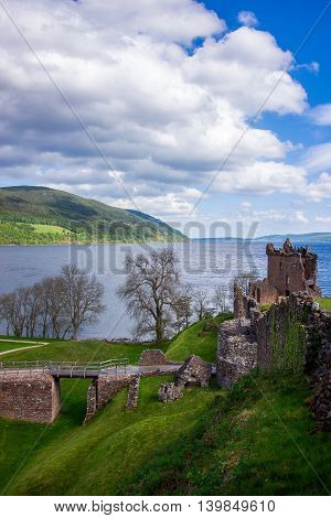 Grand Tower Of The Urquhart Castle At Loch Ness Scotland