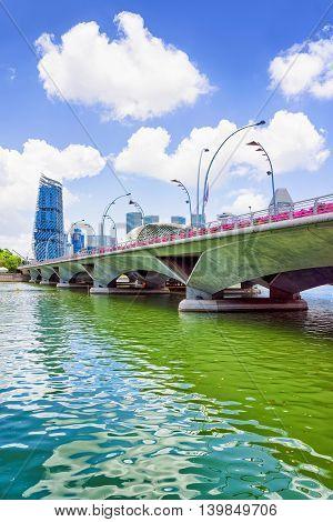 Jubilee Bridge At Marina Bay Of Singapore