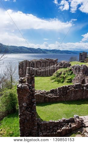 Ruins Of The Urquhart Castle At Loch Ness In Scotland