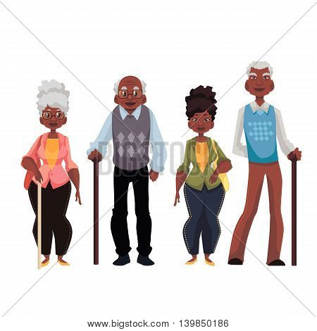 African American old men and woman cartoon style vector illustration isolated on white background. Set of full length male and female portraits of black senior citizens pensioners elder people