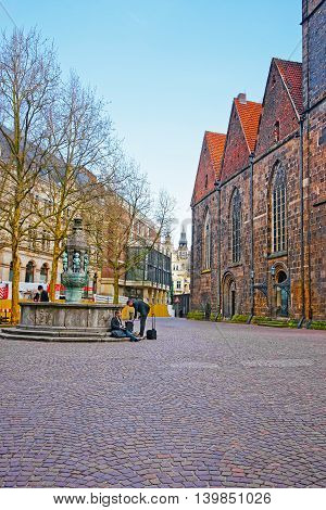 Church Of Our Lady And Fountain In Bremen In Germany