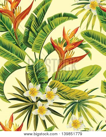 Tropical exotic plumeria flowers with green leaves of palm on a yellow background. Seamless pattern. fashion vintage summer wallpaper
