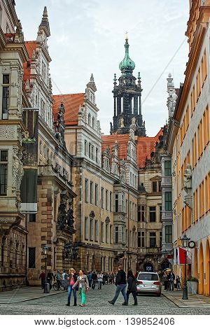 View On Hofkirche In Dresden In Saxony State Of Germany
