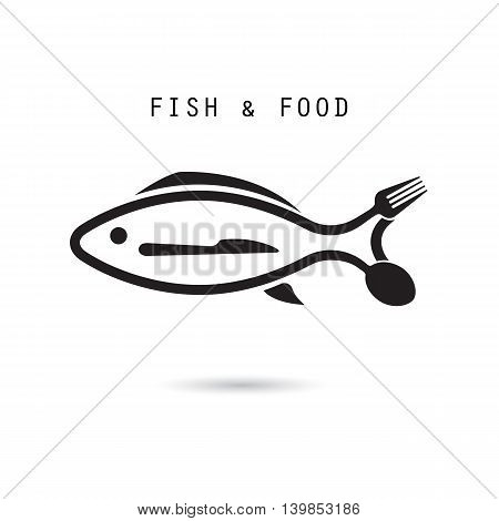Fish spoon fork and knife icon.Fish & food logo design vector icon.Fish & food restaurant menu icon.Vector Illustration