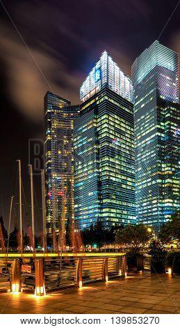 Downtown Core At Marina Bay In Singapore At Night