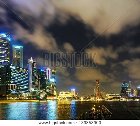 Singapore Skyline Of Downtown Core At Marina Bay At Twilight