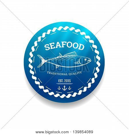 Premium quality seafood label with background sea and sign fish. Vector illustration