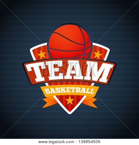 Basketball team logo template, with ball stars and ribbons. Vector illustration