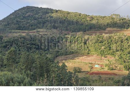 Ilumated Farm In The Mountain