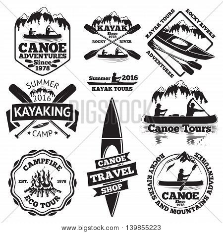 Set of canoe and kayak labels. Two man in a canoe boat, man in a kayak, boats and oars, mountains, campfire, forest, canoe tours, kayaking, canoe travel shop. Vector illustration