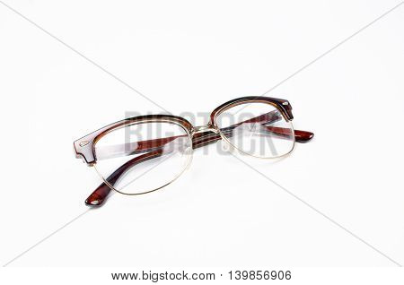 Fashion Glasses Style Plastic-framed On White Background.