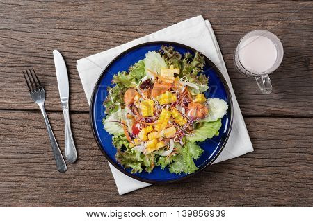 healthy food, Fresh healthy salad on wooden table