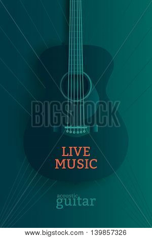 Live music poster design template. Acoustic guitar vector illustration.