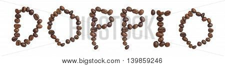 Isolated Word 'doppio' Make From Coffee Bean On White Background