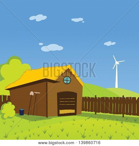 Colorful cute toon illustration of rural farm