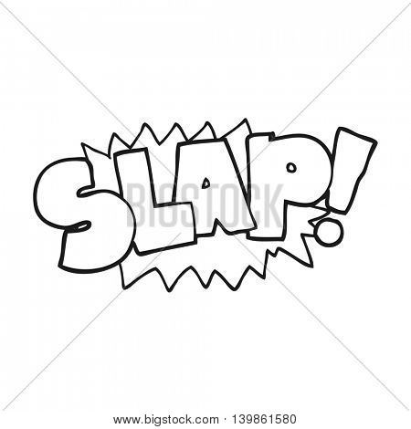 freehand drawn black and white cartoon slap symbol
