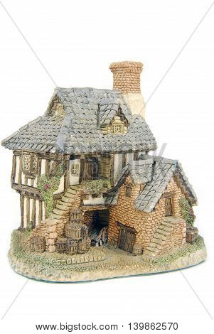 closeup of the miniture house isolated on white