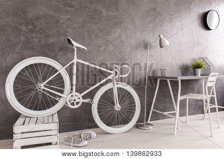 Storing White Bike