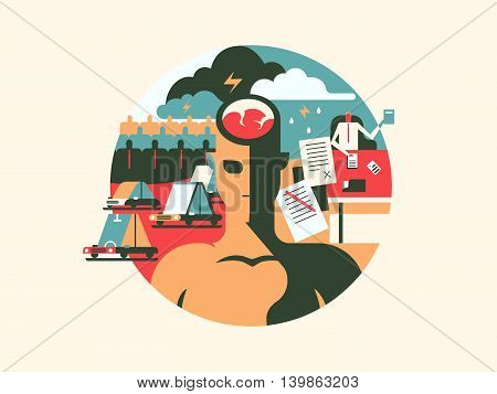 Discomfort and stress. Person man with headache, problem brain, vector illustration