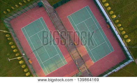 Aerial view of a two tennis courts